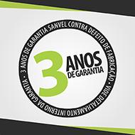 Selo para ressaltar os 3 anos de garantia oferecidos pela Sanvel Móveis